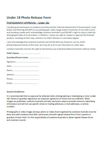 Under 18 Photo Release Form