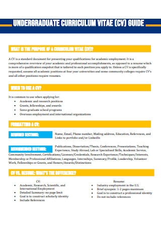 Undergraduate Curriculum Vitae