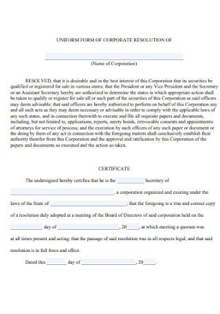 Uniform Form for Corporation Resolution