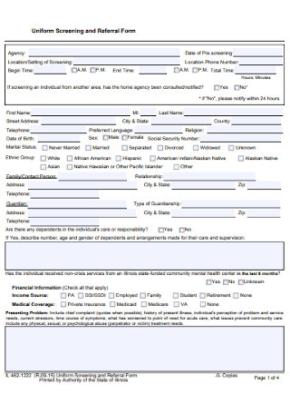 Uniform Screening and Referral Form