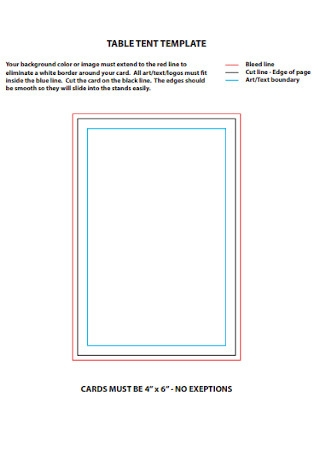 Union Table Tent Template