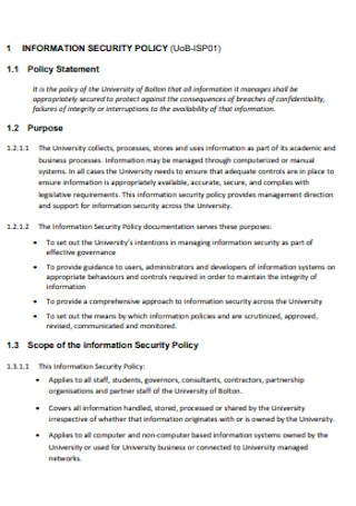 University Information Security Policy