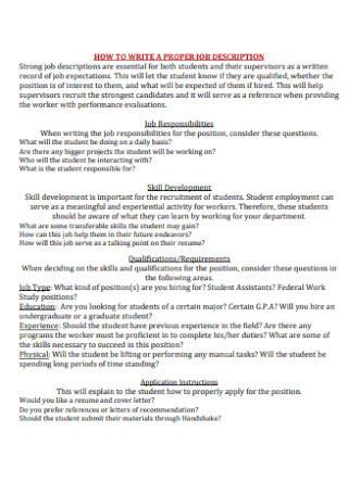 University Job Discription