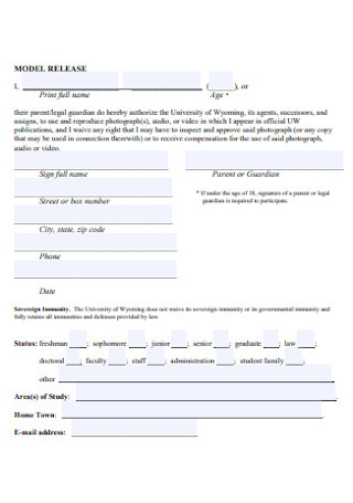 University Model Release Form