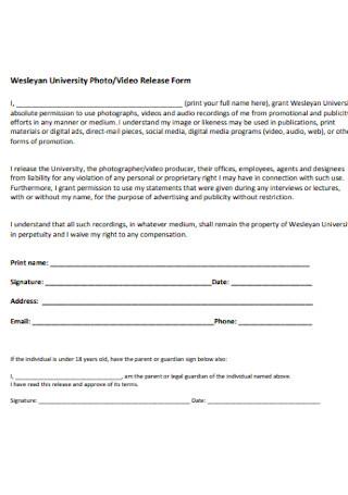 University Photo Vidio Release Form
