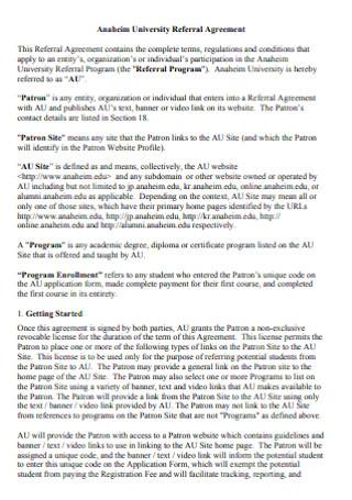 University Referral Agreement