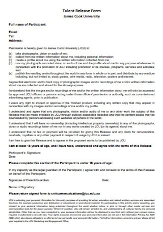 University Talent Release Form