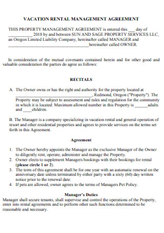 Vacation Rental Property Management Agreement