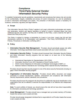 Vendor Information Security Policy