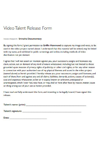 Video Talent Release Form