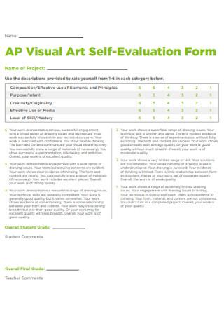 Visual Art Self Evaluation Form