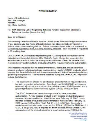 Warning Letter Regarding Tobacco Retailer