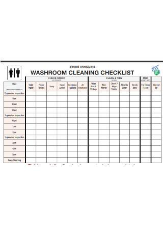 Washroom Cleaning Checklist Sample