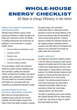 Whole House Energy Checklist