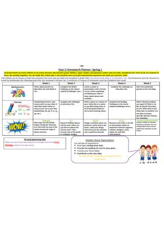 Year 5 Homework Planner