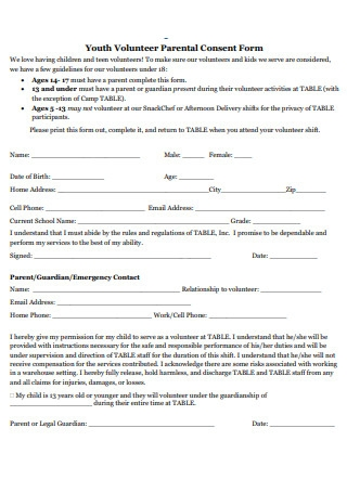 Youth Volunteer Parental Consent Form