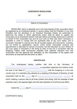 basic Corporation Resolution Form