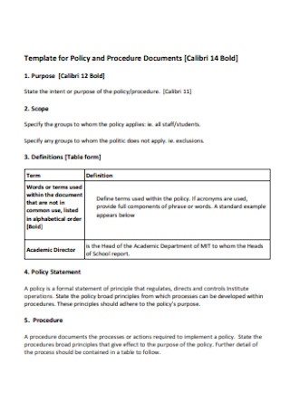 r Policy and Procedure Document