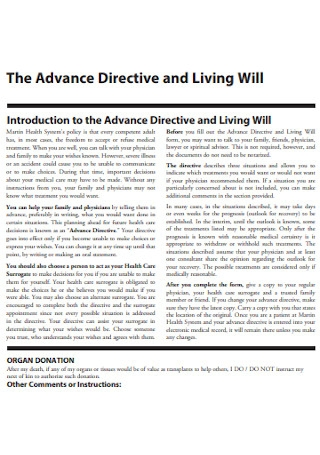 Advance Directive and Living Will