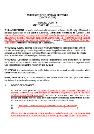 Agreement for Special Service Contractor