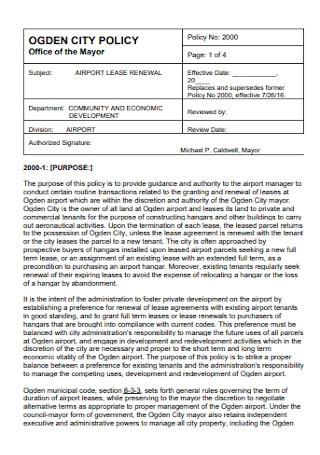 Airport Lease Renewal Form