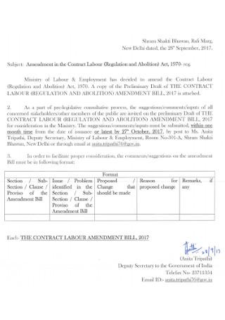 Amendment Contract of Labour