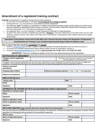 Amendment of a Registered Training Contract