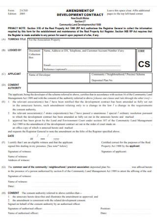 Amendment to Development Contract