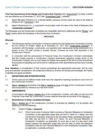 Amendment to the Design and Construction Contract E