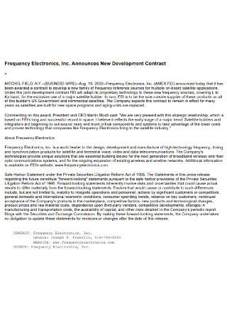 Announces New Development Contract