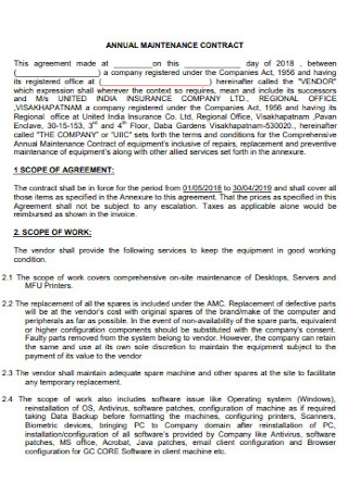 Annual Maintenance Contract Agreement