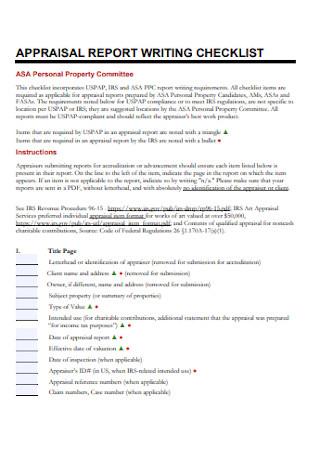 Appraisal Report Writing Checklist