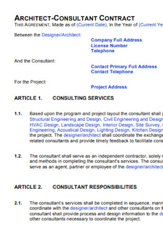Architech Consultant Contract