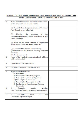 Auunal Inspection Report and Checklist