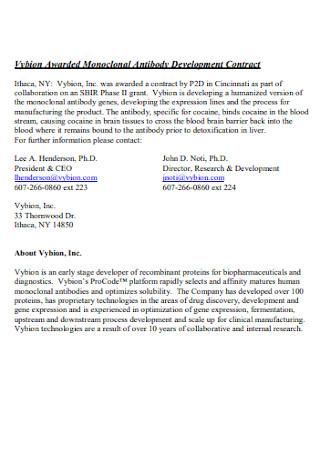 Awarded Monoclonal Antibody Development Contract