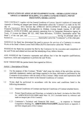 Bank Renovation Contract