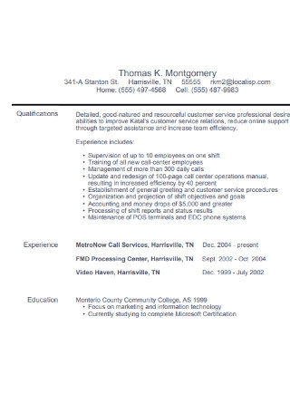 Basic Customer Service Resume
