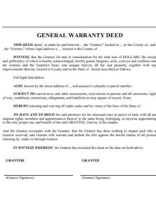Basic General Warranty Deed
