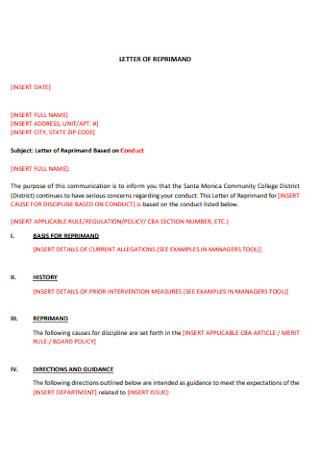 Basic Letter of Reprimand