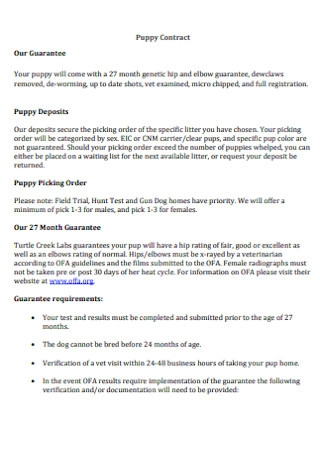 Basic Puppy Contract