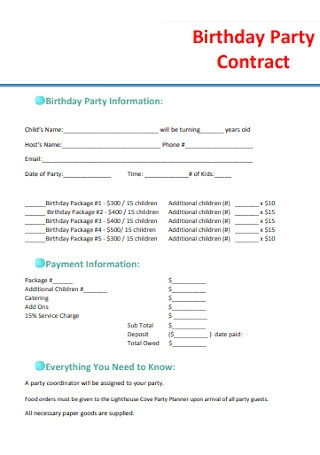 Birthday Event Planner Contract