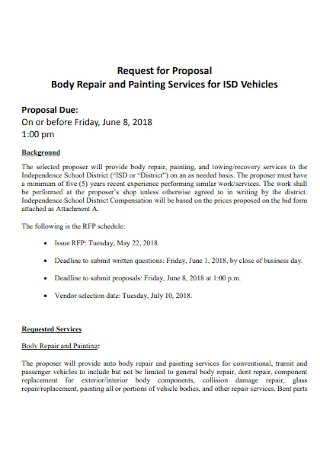 Body Repair and Painting Contract Proposal