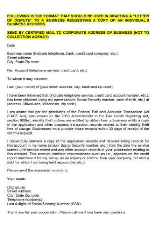 Business Letter of Credit Dispute