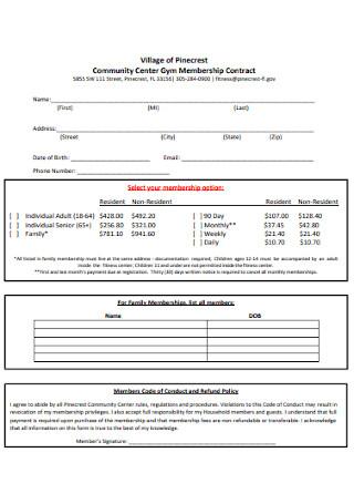 C Community Center Gym Membership Contract