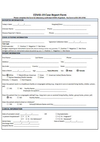 COVID 19 Case Report Form