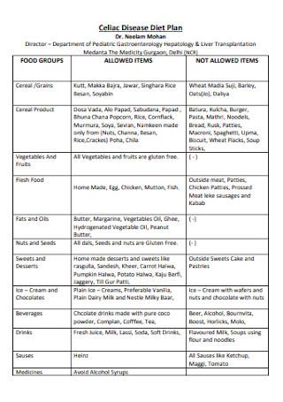 Celiac Disease Diet Plan