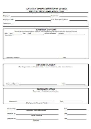 Community Employee Disciplinary Action Form