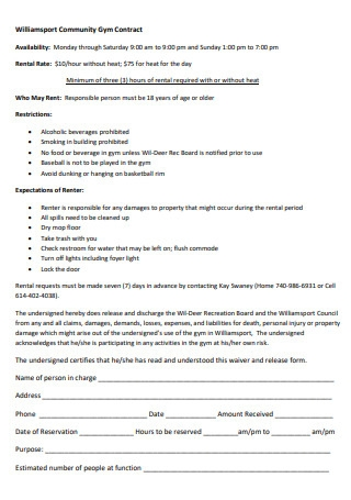 Community Gym Contract