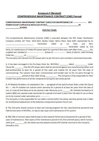 Comprehensive Maintanance Contract