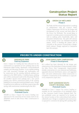 Construction Project Status Report